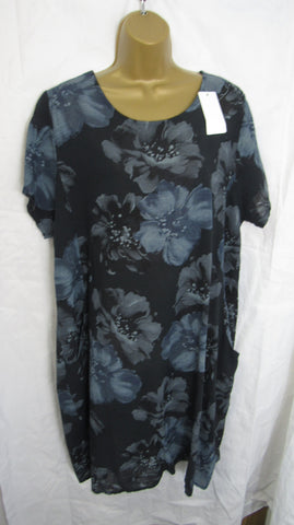 NEW Ladies Black Floral Cotton Pocket Dress One Size Fits 12 14 16 18