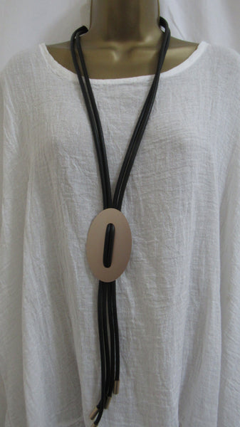 NEW Lagenlook Gold Coloured Circle Design Pendant Black Rubber Strap Long Necklace