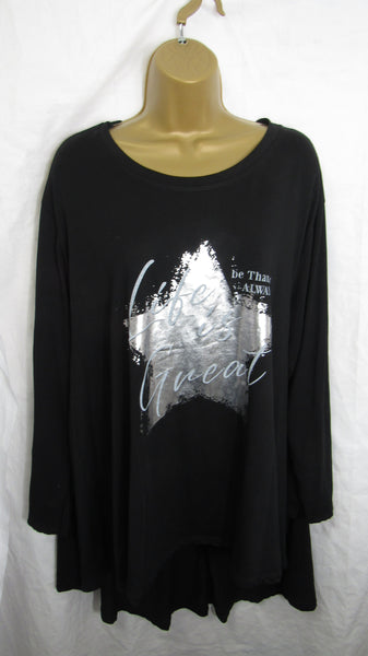 NEW Ladies Long Sleeve Pocket Black Star High Low Swing Tunic Top One Size Fits 12 14 16 18 20 22