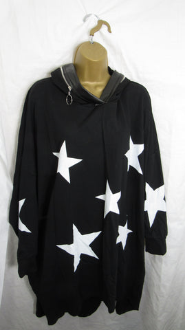 NEW Ladies Black Star Hooded Tunic Top One Size Fits 18 20 22 24 26