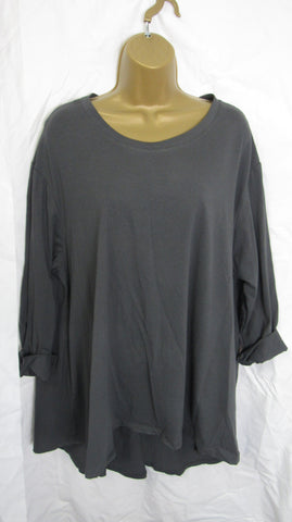 NEW Ladies Long Sleeve Pocket Charcoal Grey High Low Swing Tunic Top One Size Fits 12 14 16 18 20 22