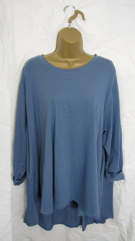 NEW Ladies Long Sleeve Pocket Denim Blue High Low Swing Tunic Top One Size Fits 12 14 16 18 20 22