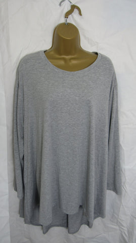 NEW Ladies Long Sleeve Pocket Silver Grey High Low Swing Tunic Top One Size Fits 12 14 16 18 20 22