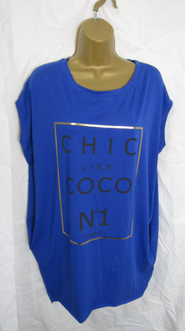"Ladies Italian Lagenlook Royal Blue ""Chic Like Coco"" Pocket Tunic Top One Size Fits 12 14 16 18"