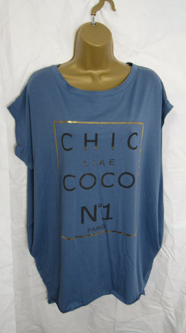 "Ladies Italian Lagenlook Denim Blue ""Chic Like Coco"" Pocket Tunic Top One Size Fits 12 14 16 18"