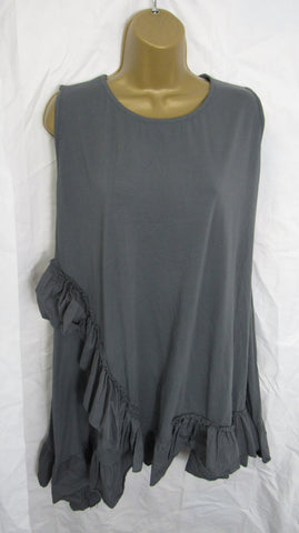 NEW Ladies Lagenlook Charcoal Grey Sleeveless Frill Tunic Top One Size Fits 16 18 20 22