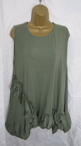NEW Ladies Lagenlook Khaki Green Sleeveless Frill Tunic Top One Size Fits 16 18 20 22