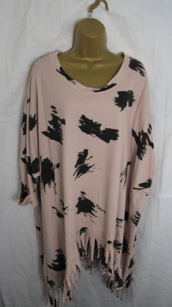 NEW Ladies Dusky Pink with Black Print Tassel Tunic Top One Size Fits 18 20 22 24 26 28