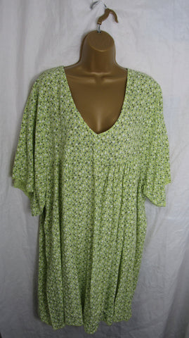 NEW The Elaine Top Ladies Womens Lime Green Floral V Neck Tunic Top Dress One Size Fits 18 20 22