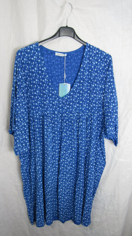 NEW The Elaine Top Ladies Womens Royal Blue Floral V Neck Tunic Top Dress One Size Fits 18 20 22