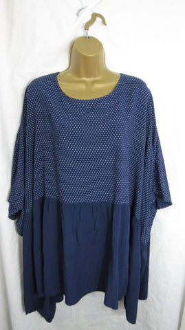 NEW Womens Navy Blue Spot Top Floaty Tunic Top Dress One Size Fits 18 20 22 24