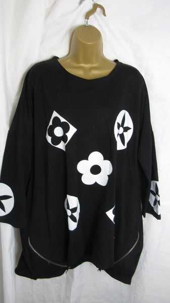 NEW Ladies Black Flower Red Tag High Low Tunic Sweatshirt One Size Fits 16 18 20 22