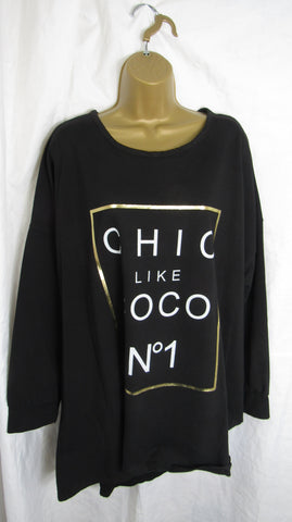Ladies Italian Black Chic Like Coco NO 1 Sweatshirt High Low Tunic Top One Size Fits 14 16 18 20