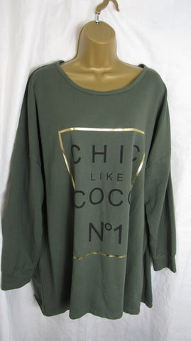 Ladies Italian Khaki Green Chic Like Coco NO 1 Sweatshirt High Low Tunic Top One Size Fits 14 16 18 20