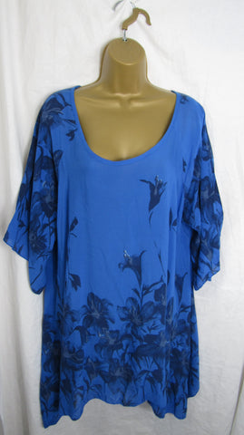 NEW Ladies Royal Blue Floral Tunic Handkerchief Hem Top One Size Fits 16 18 20 22