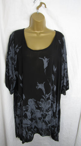 NEW Ladies Black Floral Tunic Handkerchief Hem Top One Size Fits 16 18 20 22