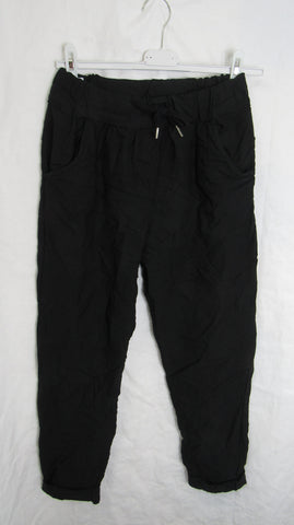 NEW Ladies Black Stretchy Magic Trousers One Size Fits 10 12 14 16 SMALLER SIZE