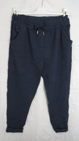 NEW Ladies Navy Blue Stretchy Magic Trousers One Size Fits 10 12 14 16 SMALLER SIZE