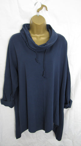 NEW Ladies Navy Blue Cowl Neck Handkerchief Hem Tunic One Size Fits Sizes 16 18 20