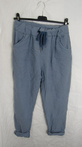 NEW Ladies Denim Blue Stretchy Magic Trousers One Size Fits 10 12 14 16 SMALLER SIZE