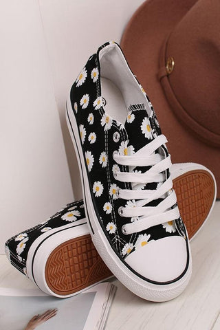 New Ladies Black Daisy Print Canvas Lace Up Trainer Sizes 3-8