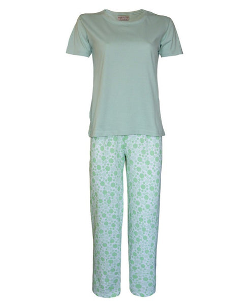 Ladies Long Pyjamas with Plain Top and Flower Design Green Trousers Sized item 12-14 16-18  and 20-22
