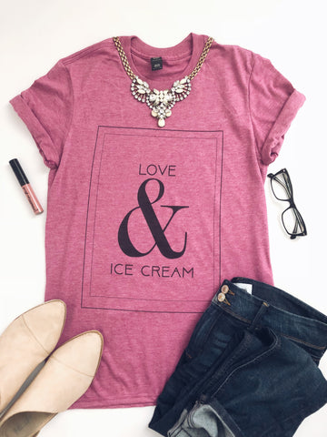 Love and Ice Cream tee- raspberry
