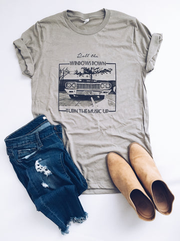 Roll the windows down heather stone tee - Jane Avenue