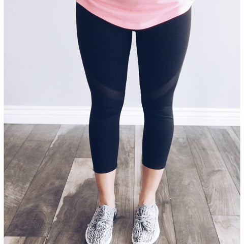 Mesh detail Capri leggings