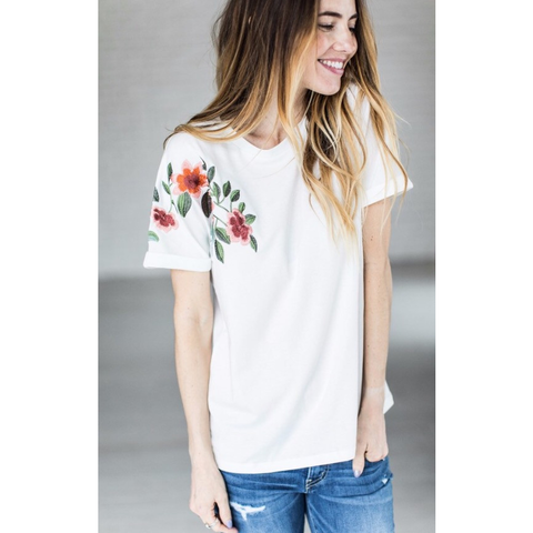 Embroidered floral sleeve tee - Jane Avenue