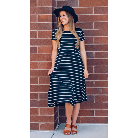 Black and white striped dress - Jane Avenue