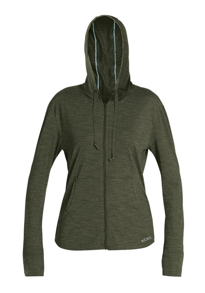 Women's Heathered Ventx L/S Front Zip Hoodie