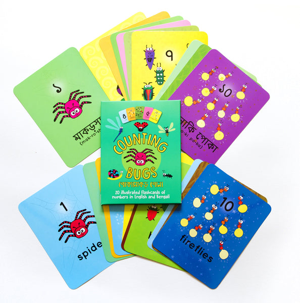 Counting Bugs Flashcards (English-Bengali) - KitaabWorld