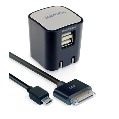 DigiPower SP-AC200 2.1Amp Dual USB Rpd Wall Chrgr w/ Micro Adptr for iPhone 4/4S