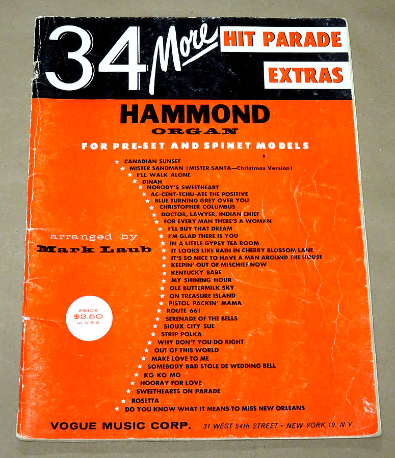 34 More Hit Parade Extras for the Hammond Organ