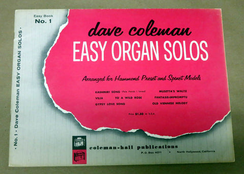 Dave Coleman Easy Organ Solos for the Hammond Organ