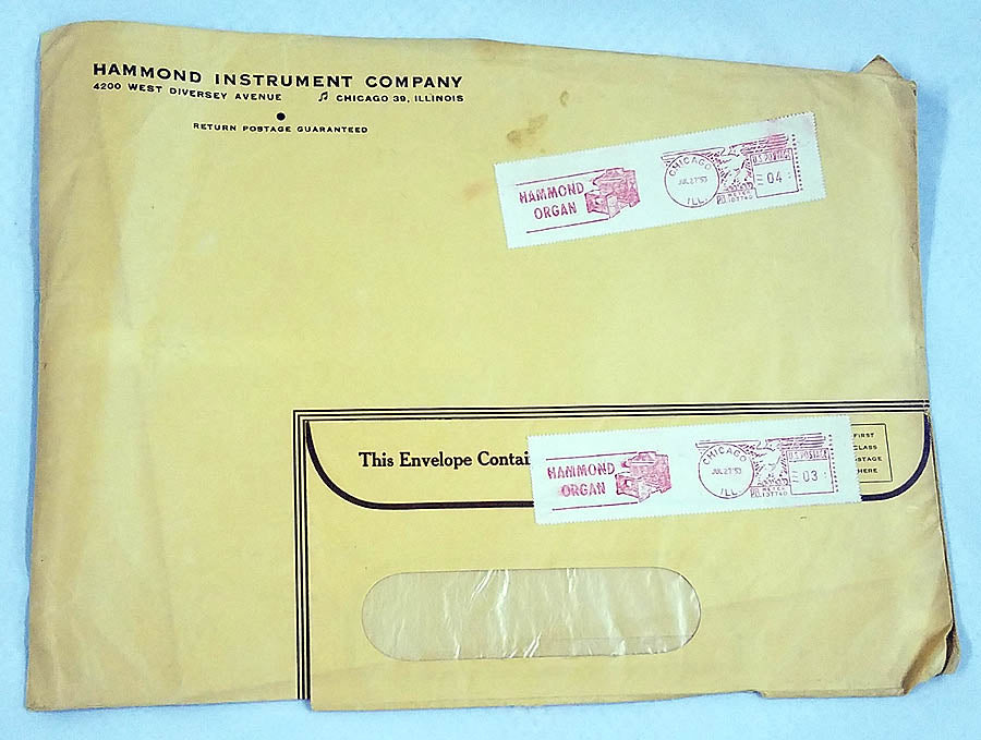 Hammond Instrument Company Envelope ( Original )