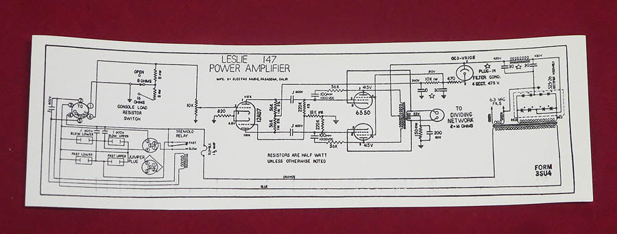 Label Sticker 147 Leslie Amp Chassis Schematic