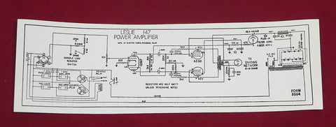 147 Leslie Amp Chassis Schematic Label Sticker