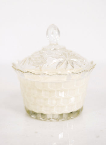 Scalloped Crystal Lidded Candle
