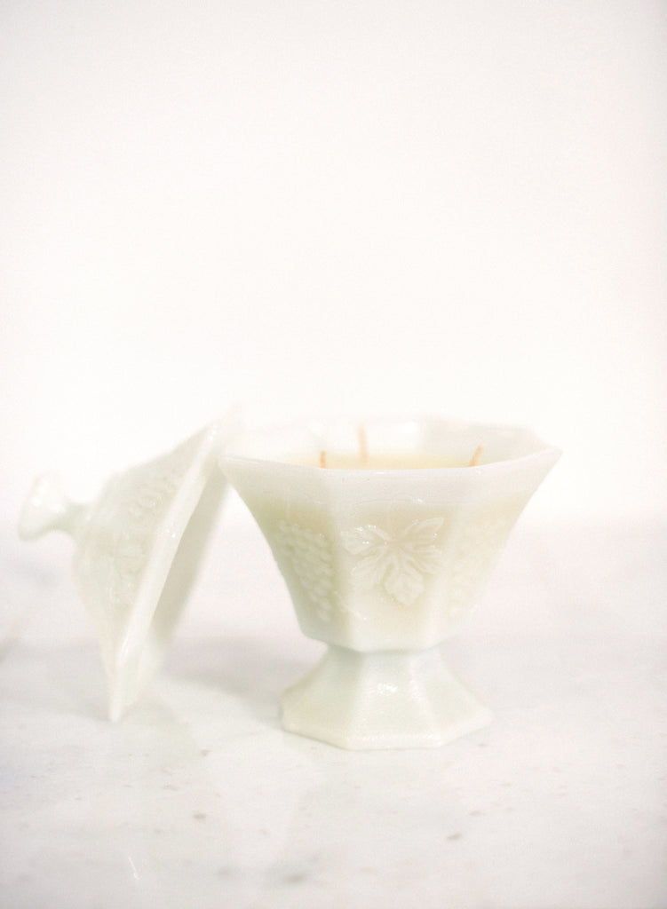 Lidded Milk Glass Candle