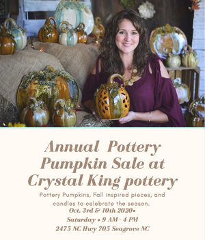 Pottery Pumpkin and fall sale with Crystal King in Seagrove NC