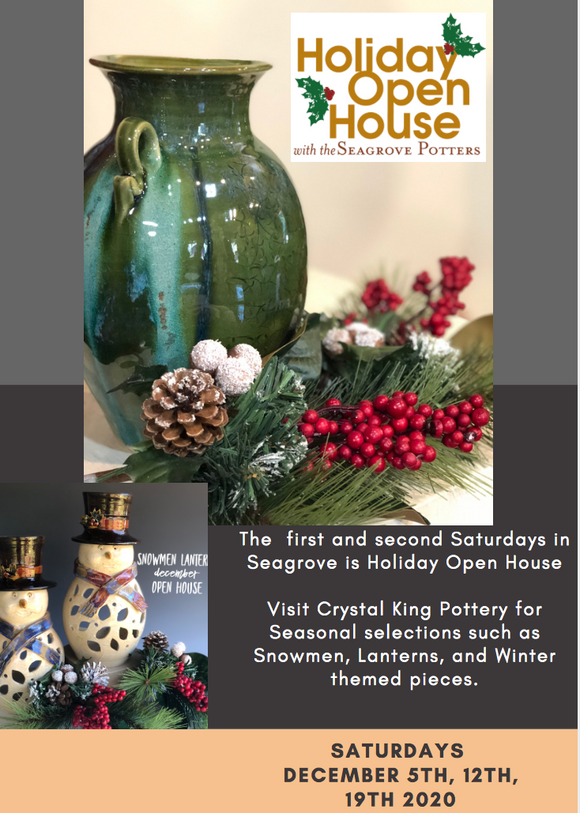 December Holiday Pottery Sale at crystal King Pottery in Seagrove NC