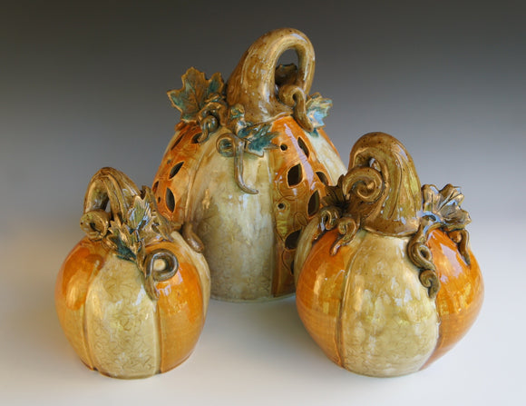 Orange and White Pottery Pumpkins