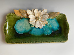 "11"" Long Green Tray with Hand Made Flower & Melted Glass"
