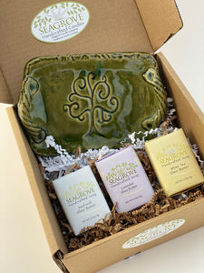 Gift Set- Tree of Life Dish with Handles & Shea Butter Soaps