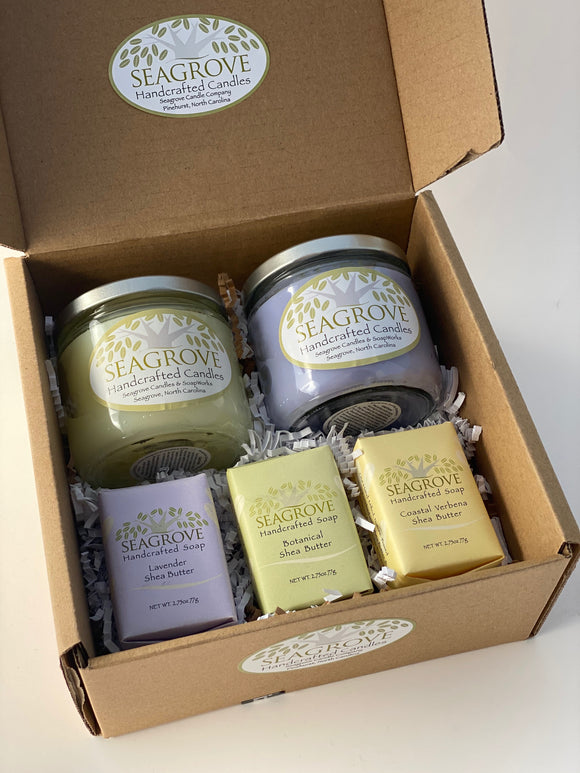 Gift set- 2 Spring Candle and 3 Shea Butter Soaps