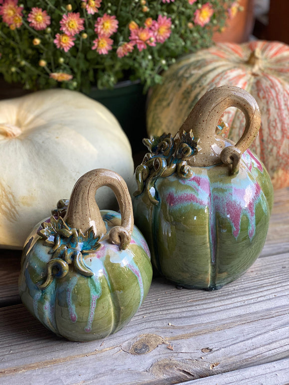 * New Color- Green with Burgundy Splash Pottery Pumpkins