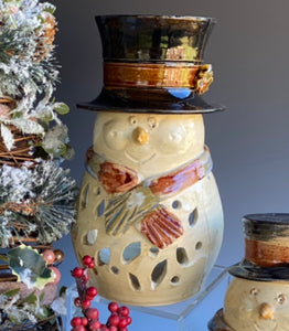 "Order a Snow Man Lantern 11"" Tall with opening for Candle in Back"