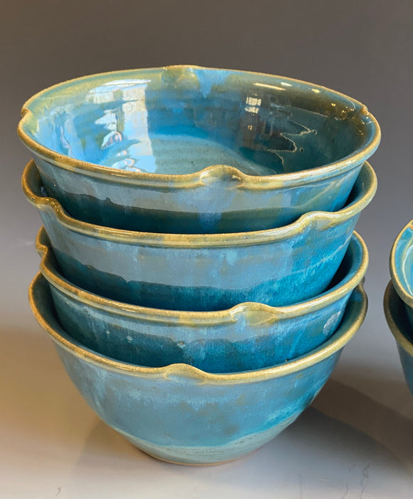 Side Salad Dessert Bowls in Turquoise Glaze (set of 4)